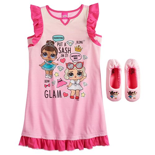 Girls 4-10 L.O.L Surprise! Ruffled Dorm Nightgown with Slippers
