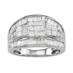 10k White Gold 2 Carat T.W. Diamond Cluster Ring