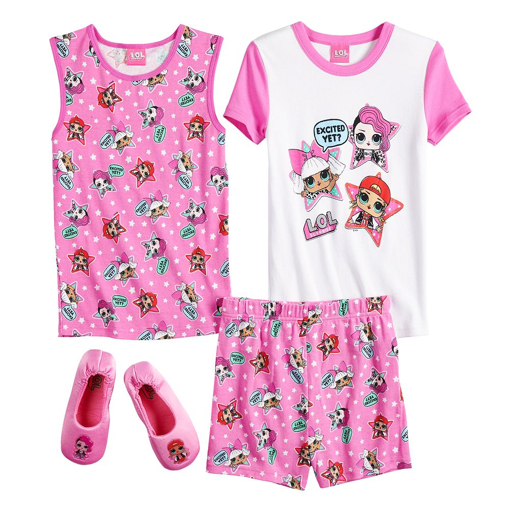 Girls 4-10 L.O.L Surprise! Tank Top Shorts & Slippers Pajama Set