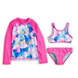 Girls 4-6x SO® Make A Splash Rashguard, Bikini Top & Bottoms Swimsuit Set