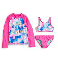 Girls 4-6x SO® Make A Splash Rashguard, Bikini Top & Bottoms Swimsuit Set
