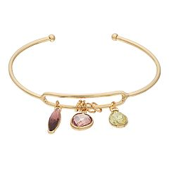 LC Lauren Conrad Gold Tone Purple & Green Simulated Crystal Charm Cuff Bracelet