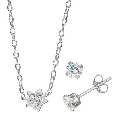 Charming Girl Sterling Silver Star Pendant Necklace & Stud Earrings Set