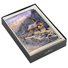 Hallmark Thomas Kinkade Mountain Cottage 12-Count Christmas Boxed Cards