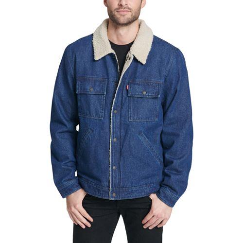 Men's Levi's Sherpa-Lined Washed Denim Trucker Jacket
