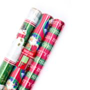 Hallmark Classic Foil Reversible Christmas Wrapping Paper Bundle 3-Pack