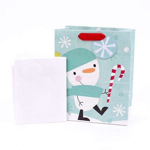 Hallmark Snowman & Candy Cane Medium Holiday Gift Bag with Tissue Paper