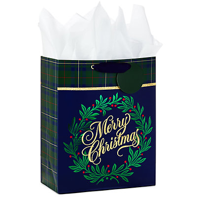 Hallmark Navy Plaid Large Christmas Gift Bag with Tissue Paper