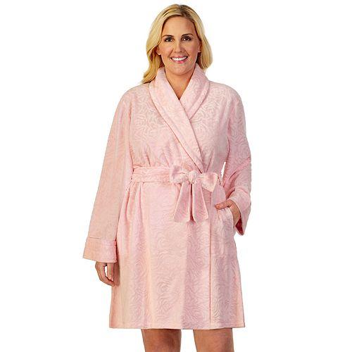 Plus Size Stan Herman Textured Terry Wrap Robe