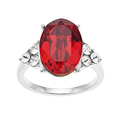 Brilliance Oval Scarlet Ring with Swarovski Crystals