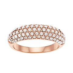 Brilliance Rose Gold Dome Ring with Swarovski Crystals