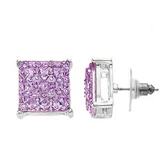 Jennifer Lopez Simulated Stone Square Button Stud Nickel Free Earrings