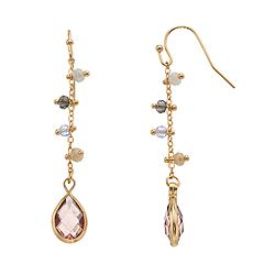 LC Lauren Conrad Nickel Free Shaky Bead Linear Teardrop Earrings