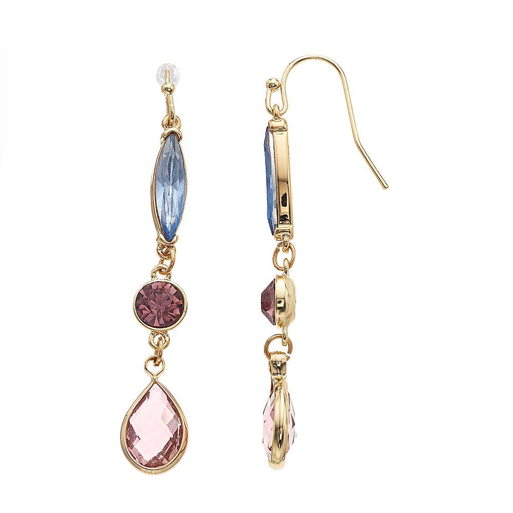 LC Lauren Conrad Gold Tone Pink & Blue Simulated Crystal Nickel Free Drop Earrings