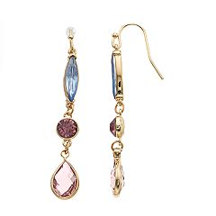 LC Lauren Conrad Gold Tone Pink & Blue Simulated Crystal Nickel Free Drop Earrings