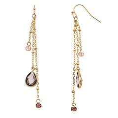 LC Lauren Conrad Nickel Beaded Triple Chain Drop Earrings