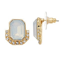 LC Lauren Conrad Gold Tone Simulated Stone & Crystal Button Nickel Free Stud Earrings