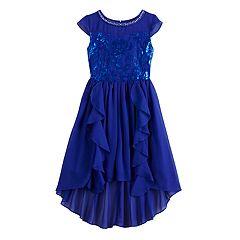 Girls 7-16 Lavender Lace & Chiffon High-Low Dress