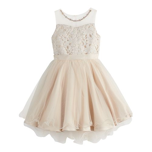 Girls 7-16 Blush Illusion Neckline Sleeveless Dress