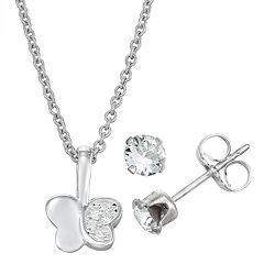 Charming Girl Sterling Silver Butterfly Pendant and Stud Earring Set - Made with Swarovski Crystals