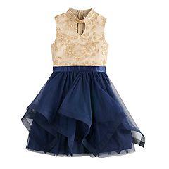 Girls 7-16 Blush Brocade Gigi Bodice Tiered Skirt Dress