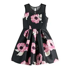 Girls 7-16 Blush Floral Mercado Illusion Neck Dress