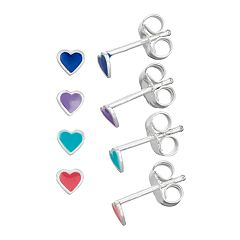 Charming Girl Sterling Silver Heart Earring Set