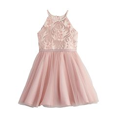 Girls 7-16 Blush Sleeveless Embroidered Dress