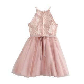 Girls 7-16 Blush Sleeveless Embroidered Dress