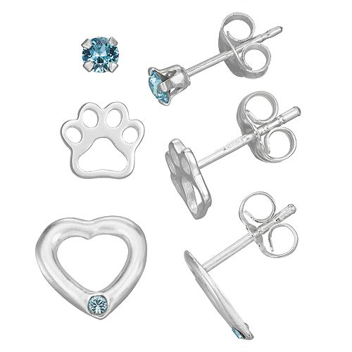 Charming Girl Sterling Silver Crystal 3-pair Earring Set