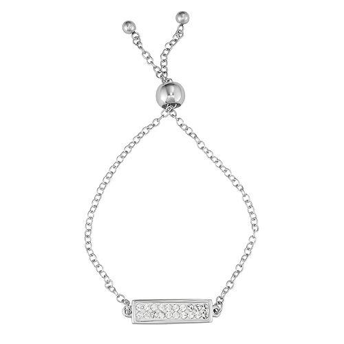 Charming Girl Fine Silver-Plated Crystal Adjustable Bracelet