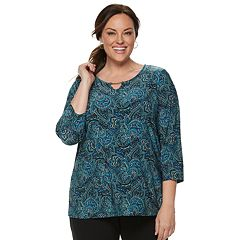 Plus Size Croft & Barrow® Jacquard Metal-Accent Top