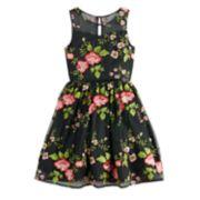 Girls 7-16 Blush Floral Print Sleeveless Dress
