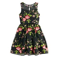 Girls 7-16 Blush Floral Print Sleeveless Dress