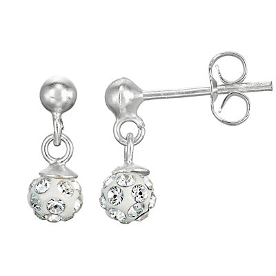 Charming Girl Sterling Silver Fireball Earrings - Made with Swarovski Crystals