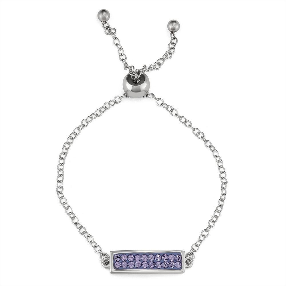 Charming Girl Purple Bar Adjustable Bracelet - Made with Swarovski Crystals