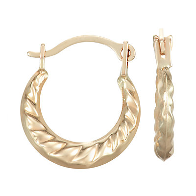 Charming Girl 14k Gold Textured Hoop Earrings