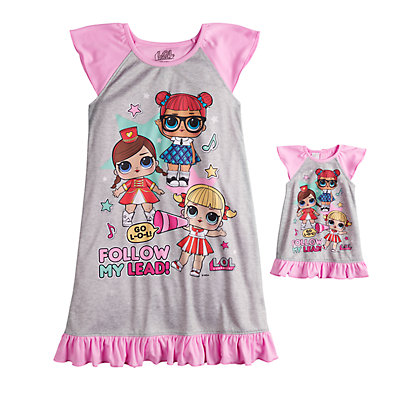 Girls 6-10 L.O.L Surprise! Dorm Nightgown & Doll Nightgown