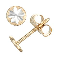 Charming Girl 14k Gold Star Stud Earrings