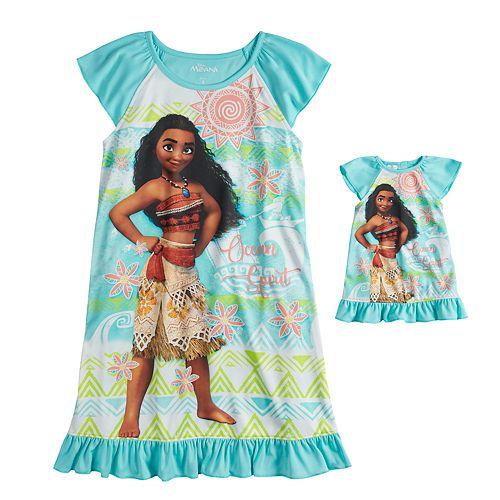 Disney's Moana Girls 4-8 Dorm Nightgown & Doll Nightgown