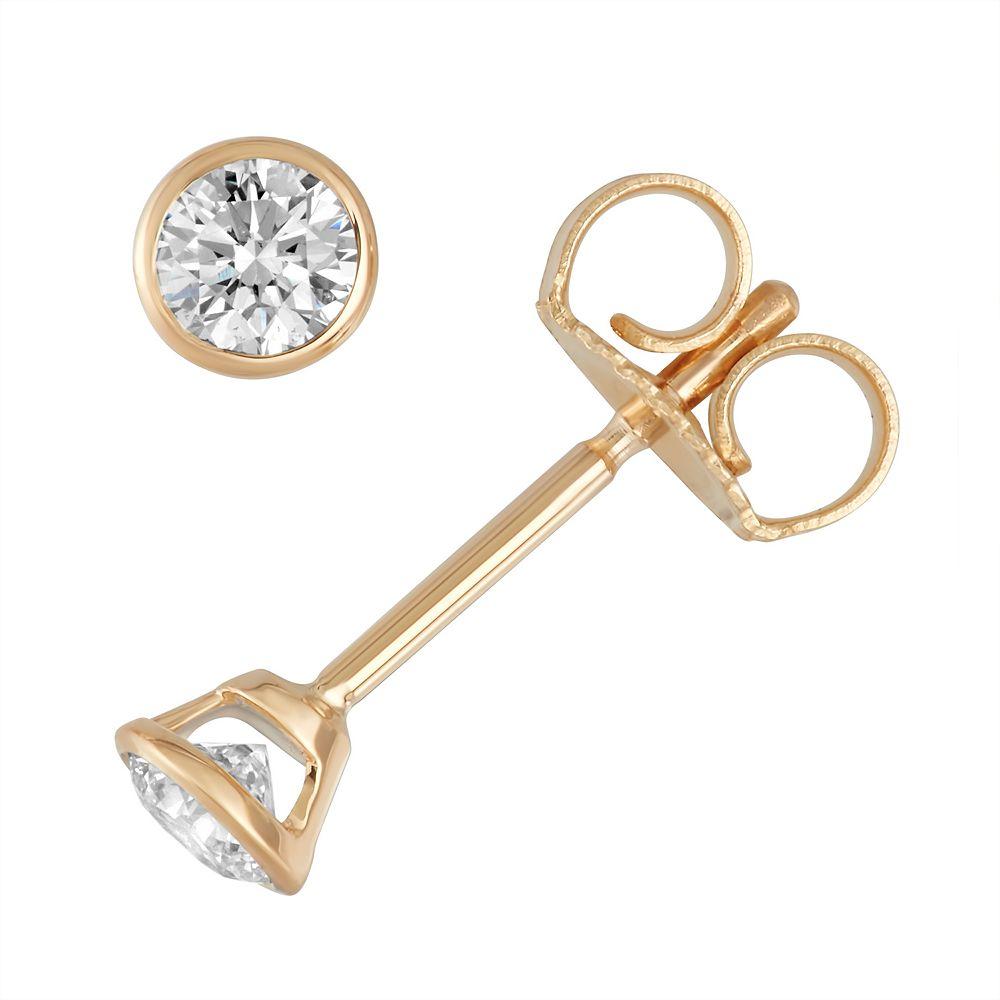14k Gold 1/5 Carat T.W. Diamond Bezel Stud Earrings