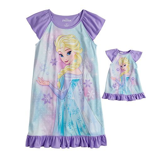 Disney's Frozen Elsa Girls 4-8 Dorm Nightgown & Doll Nightgown