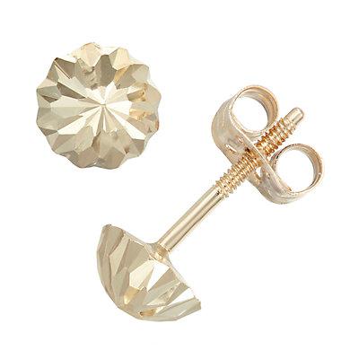 Charming Girl 14k Gold Domed Stud Earrings