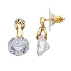 Dana Buchman Gold Tone Cubic Zirconia Drop Earrings