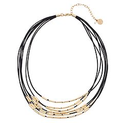 Dana Buchman Gold Tone Leather Detail Multi Strand Necklace