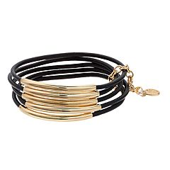 Dana Buchman Gold Tone Leather Detail Bangle Bracelet Set