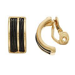 Dana Buchman Gold Tone Leather Detail Clip-On Hoop Earrings