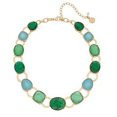 Dana Buchman Gold Tone Green & Blue Simulated Crystal Collar Necklace
