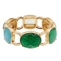 Dana Buchman Gold Tone Green & Blue Simulated Crystal Stretch Bracelet