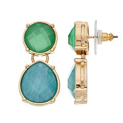 Dana Buchman Gold Tone Blue & Green Simulated Crystal Drop Earrings